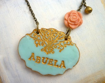 Abuela Gift, Grandmother, Nonna, Maw Maw, Yia Yia, Yaya, Oma, Stamped necklace for nana, Grandma Jewelry, from Grandchildren , Rose Necklace