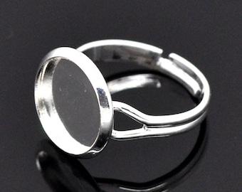 2pcs / 20pcs Wholesale Ring Blank - 12mm Bezel Ring Base Silver Bezel Ring Blanks -Bezel Setting Ring Tray Blank Pads Adjustable