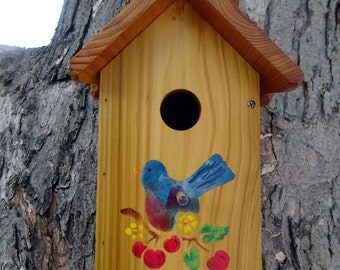 Unique one of a kind Handcrafted Birdhouse-Blue Bird with Cherries,outdoor oil finished wood,Made in USA,stencilled