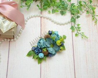 Gift for sister Flower comb wedding Hair comb Blue hair comb Wedding headpiece Green flower comb Blue Bridal hair comb Flower girl comb