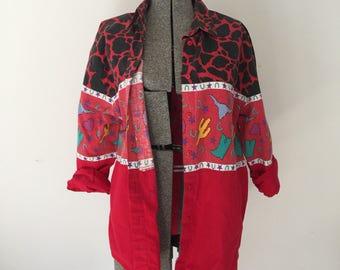 Vintage COWPOKE Shirt •1990s Western Wear Clothing • Oversized 90s Long Sleeve Cotton Southwest Canyon Button Up Cactus Star Men Women L XL