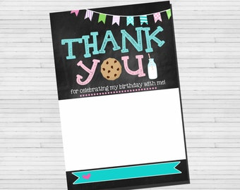 Thank You card | Flat Thank You Card | Cookies & Milk Thank you | Instant Download