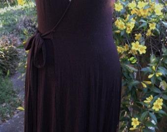 Wrap Dress/ Knit Jersey Dress/ Brown Wrap Dress/ Retro Wrap Dress/ Rayon Lycra Knit Wrap Dress/ Shabbyfab Funwear