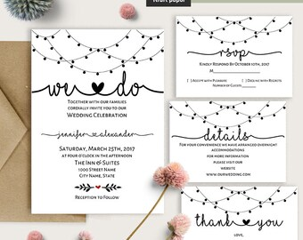 Wedding invitation, We do wedding suite, printable wedding templates, Instant download self editable PDF W102