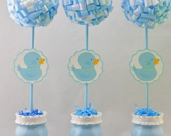 Boy Baby Shower Duck Ribbon Topiary Centerpieces Set of Three (3) 1st Birthday Party Decorations Baby Blue Party Decor Baby Shower Party