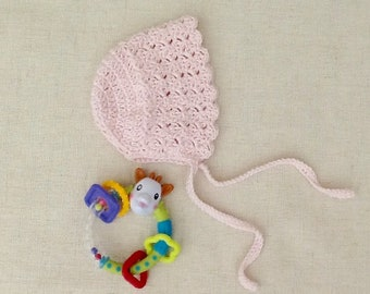 Cap bonnet 100% cotton of Giza crochet baby, vintage baby bonnet, pink, cotton, baby,