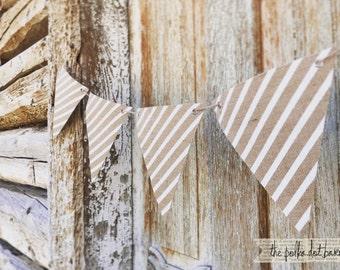 White Stripe Burlap Pennant banner -Burlap banner for parties and weddings- Stripe Burlap Banner - Stripe Burlap Garland - Stripe Burlap