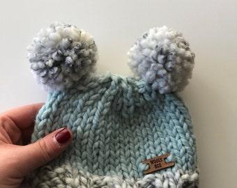 Double Pom Baby Hat // Glacier + Marble