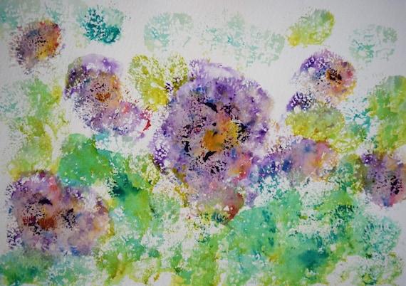 Painting, watercolor, Petunias