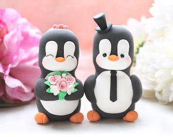 Unique Penguin cake toppers wedding - LARGER size - cute funny bride groom figurines anniversary gift pink white