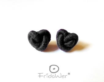 Mother's day gifts Black Hearts stud Gifts for wife Heart Knot love earrings for women Textile fashion jewellery accessories for best friend