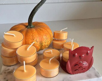 Owl Decor 12 Halloween Candle Soy Tea Lights with Metal Owl Candle Holder Cute Halloween Owl Pumpkin Pie Spice Fragrance Candles Autumm Fall