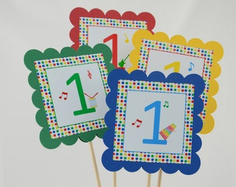Music Party Centerpieces, Music Theme, Primary colors Birthday, Music 1st Birthday, Set of 4, 4 Colors