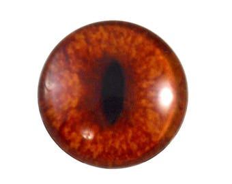 30mm Red Fox Glass Eye for Animal Pendant Jewelry Making or Realistic Taxidermy Doll Eyeball Flatback Handmade Circle Cabochon