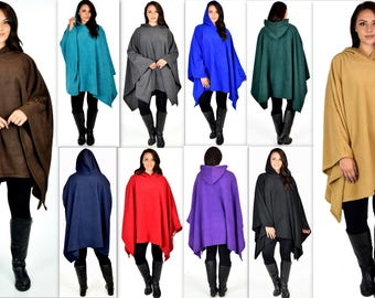 Versatile Travelers Full Size Poncho, Hooded Poncho, Fleece Poncho, Plus Size Poncho in warm and cozy Fleece fabric fits up to 5xl