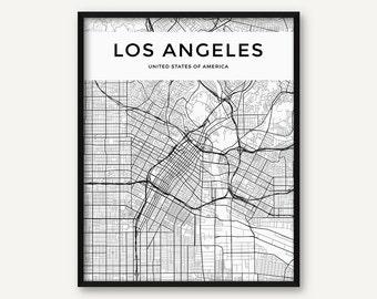 Los Angeles Map Print, Los Angeles Map, Los Angeles Wall Art, Black and White LA Print, Los Angeles Poster, City Map, Los Angeles Decor