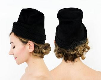 30s 40s Black Wool Felt & Jersey Tilt Hat   Dunlap N.Y.