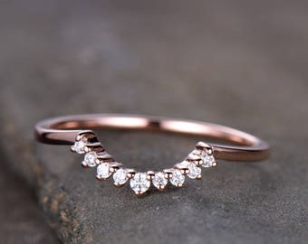 Crown Wedding Band Curve Wedding Band CZ Wedding Ring Stacking Ring Chevron Ring Rose Gold Plated Sterling Silver Anniversary Ring