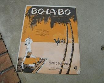 1919  vintage sheet music (  BO- LA-BO ) Egyptian fox trot song