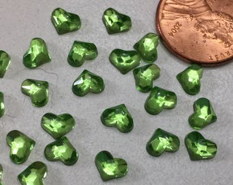 Vintage tiny green glass heart cabs 24 of them jewelry making collage hats