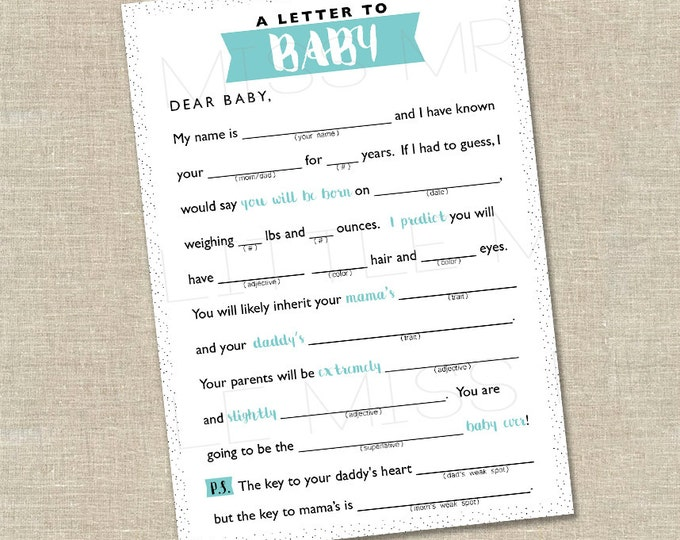 Featured listing image: Mad-lib Baby Shower game // A Letter to BABY //  pink, blue, yellow, gray