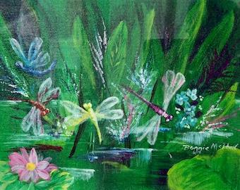 Dragonflies in the Marsh Original Framed Acrylic Fine Art