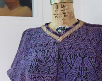 Vintage Huipil Guatemalan Purple Poncho Top - Peacock Zig Zag - Handwoven Boho Festival Frida Folk Ethnic - S to M