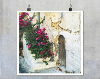 Greek Travel Photography: Old brown wooden door in white wall with pink flowers in Crete - 22x22 12x12 18x18 square Fine Art Photo Print