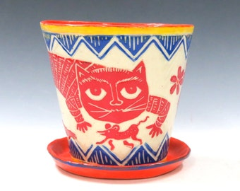 Made-to-Order Fabulous FLOWER POT Saucer, Outside or Inside Planter - Sly Cat Mouse Bird, Mexican Folk Art Style - Choose Your Colors