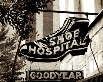Old Sign Photo, Shoe Sign, Old Marquee Sign Decor