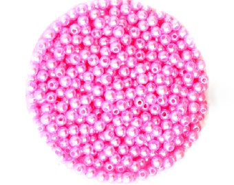 Set of 100 beads acrylic pink 4 mm
