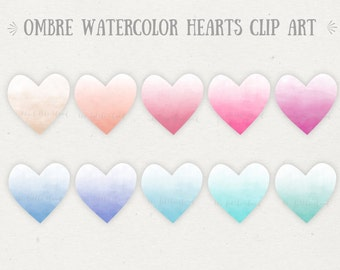 10 ombre watercolor hearts clip art. Valentines day clipart.