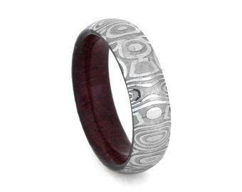 Damascus Steel Ring, Wooden Wedding Band, Unique Ring For Women With A Purple Heart Wooden Sleeve