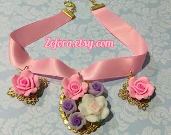 Pastel Mori Kei Rose Charms Satin Ribbon Choker Necklace, 3 colors