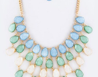 Layered Crystal Teardrop Bib Statement Necklace