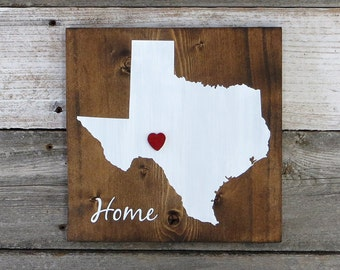 """All States Available, Rustic Hand Painted """"Home State"""" Wood Sign, Texas State Home, Home State Pride - 9.25""""x9.25"""""""