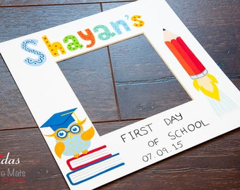 First Day of School Photo Keepsake Mat - Personalised - Back to School Picture Mat - Hand Painted - Personalised Theme