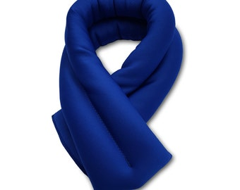 Navy Blue Neck Ice Wrap 5x26, Microwavable and Freezable, Hot and Cold Pack, Extra Long and Wide, Filled with Flax Seeds