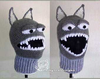 Wolf Ski Mask, 5 Sizes Child-Adult, INSTANT DOWNLOAD Crochet Pattern