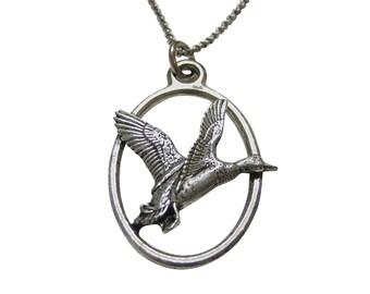 Flying Mallard Duck Large Oval Pendant Necklace