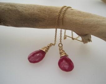 Ruby Earrings - Threader Earrings - Ruby Red - Long - Birthstone Jewelry - Ruby  Briolette
