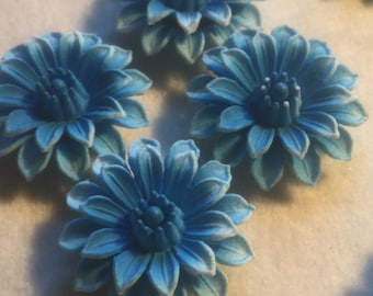 6 Vintage Celluloid Blue Dahlia Flower Cabochon