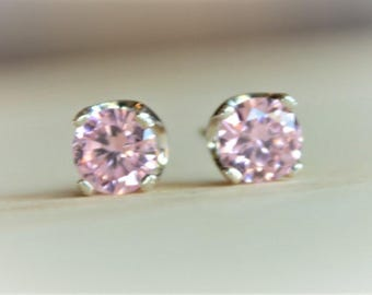 6mm Pink Cubic Zirconia Argentium Silver Earrings - Nickel Free Hypoallergenic Stud Earrings