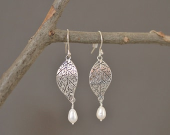 Long, Dangling Oxidized Silver Leaf and Pearl Earrings, Leaf Jewelry, Silver Drop Earrings, Silver and Pearl Earrings