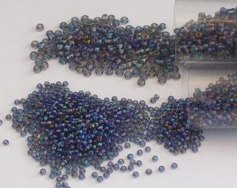 Perles de verre Black Diamond AB taille 8 et 11 / / gris Aurora Borealis graine perle 8/0 et 11/0
