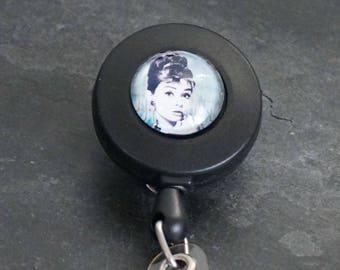 Retractable Badge Holder ID Badge Holder Lanyard Clip Retractable Badge Reel Audrey Hepburn