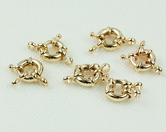 Rose Gold Spring Clasps, 11mm Clasp Wheel, Brass Clasp, Pkg of 5 pcs, F0IO.RG04.P05