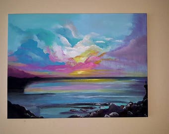 Pink Clouds Original by Lizy J Campbell  wall art oil painting  18x24 wrapped canvas ready to hang!