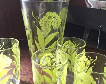 ON SALE MidCentury Juice Pitcher and 4 Juice Glasses with Botanical Details