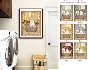 yorkie yorkshire terrier  dog laundry basket company laundry room artwork UNFRAMED print by stephen fowler geministudio
